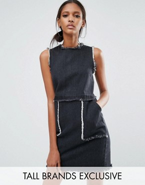 photo Mini Denim Dress with Fray Detail by Daisy Street Tall, color Washed Black - Image 1