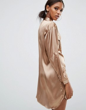 photo Oversized Shirt Dress with Patchwork Pocket by Daisy Street Tall, color Gold - Image 2