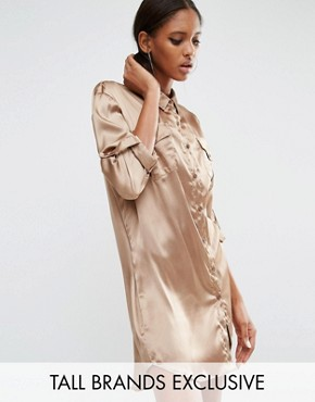 photo Oversized Shirt Dress with Patchwork Pocket by Daisy Street Tall, color Gold - Image 1
