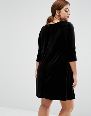 photo Velvet Swing Dress by New Look Plus, color Black - Image 2