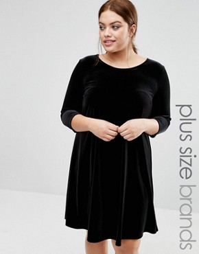 photo Velvet Swing Dress by New Look Plus, color Black - Image 1