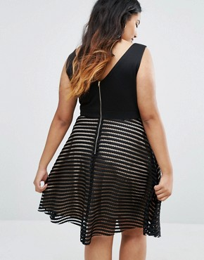 photo Plunge Mesh Stripe Skater Dress by New Look Plus, color Black - Image 2