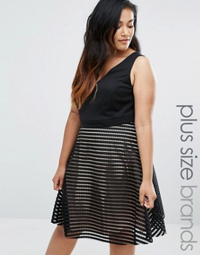 photo Plunge Mesh Stripe Skater Dress by New Look Plus, color Black - Image 1