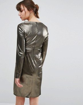photo Shimmer Wrap Dress by New Look Maternity, color Gold - Image 2