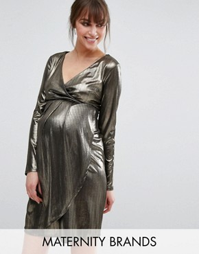 photo Shimmer Wrap Dress by New Look Maternity, color Gold - Image 1