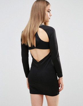 photo Bodycon Dress with Embellished Neck by Madam Rage, color Black - Image 1