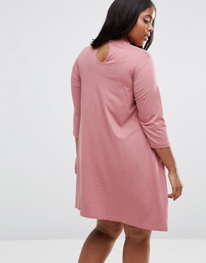 photo Swing Dress With High Neck And 3/4 Sleeve by ASOS CURVE, color Pink - Image 2