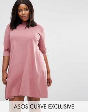 photo Swing Dress With High Neck And 3/4 Sleeve by ASOS CURVE, color Pink - Image 1