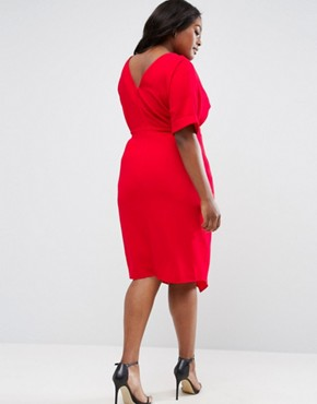 photo Smart Midi Dress by ASOS CURVE, color Molten Red - Image 2
