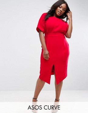 photo Smart Midi Dress by ASOS CURVE, color Molten Red - Image 1
