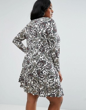 photo V Neck Swing Dress In Paisley Print by ASOS CURVE, color  - Image 2