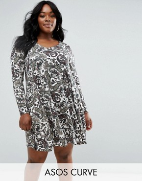 photo V Neck Swing Dress In Paisley Print by ASOS CURVE, color  - Image 1
