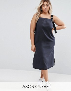 photo Denim Slip Dress in Washed Black With D- Rings by ASOS CURVE, color Washed Black - Image 1