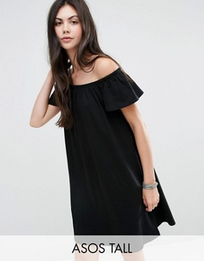photo Off Shoulder Mini Dress by ASOS TALL, color Black - Image 1
