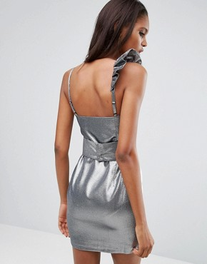 photo Silver 80s Ruffle Mini Dress by ASOS TALL NIGHT, color Silver - Image 2