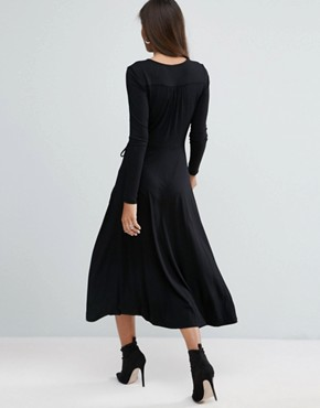 photo Midi Wrap Tea Dress with Long Sleeves by ASOS TALL, color Black - Image 2