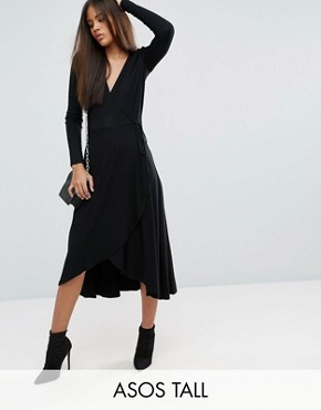 photo Midi Wrap Tea Dress with Long Sleeves by ASOS TALL, color Black - Image 1