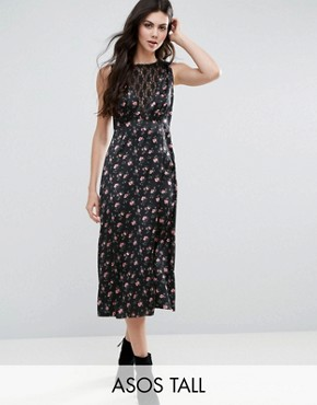 photo Floral Tea Dress with Lace Insert by ASOS TALL, color  - Image 1