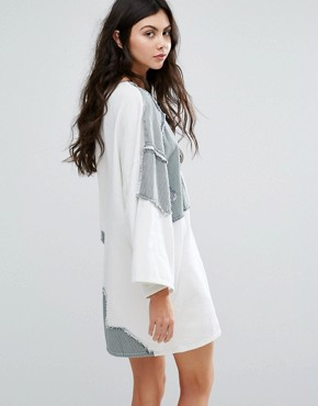 photo Graphic Patchwork Denim Dress by Waven Tall, color White - Image 2
