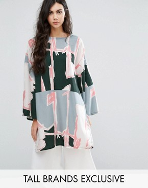 photo Graphic Print Oversized Tunic Dress by Waven Tall, color  - Image 1