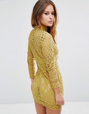 photo High Neck Lace Mini Dress by Missguided Petite, color Chartreuse - Image 2