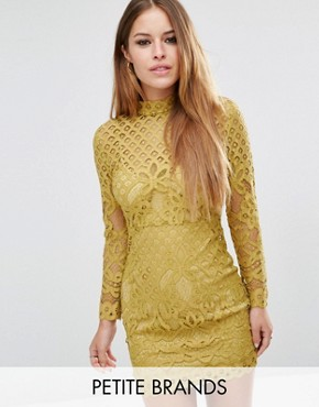 photo High Neck Lace Mini Dress by Missguided Petite, color Chartreuse - Image 1