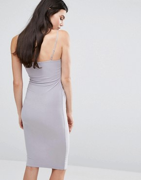 photo Slinky Strappy Wrap Midi Dress by Missguided Tall, color Silver - Image 2