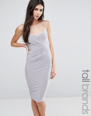 photo Slinky Strappy Wrap Midi Dress by Missguided Tall, color Silver - Image 1