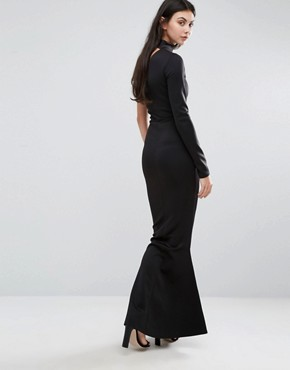 photo One Shoulder Choker Neck Maxi Dress by Missguided Tall, color Black - Image 2