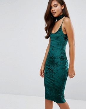photo Crushed Velvet Midi Dress with Detachable Choker by Missguided Tall, color Emerald - Image 2