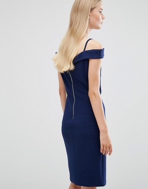 photo Cold Shoulder Dress by Madam Rage, color Navy - Image 2