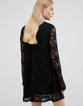 photo Bell Sleeve Lace Dress by Madam Rage, color Black - Image 2
