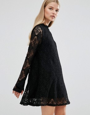 photo Bell Sleeve Lace Dress by Madam Rage, color Black - Image 1
