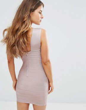 photo Exclusive Cross Front Bandage Dress by Missguided Petite, color Mauve - Image 2