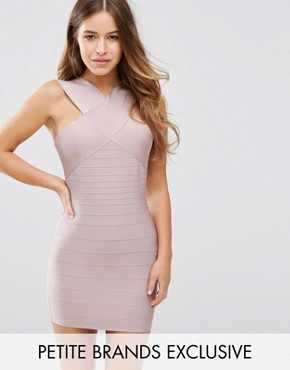 photo Exclusive Cross Front Bandage Dress by Missguided Petite, color Mauve - Image 1