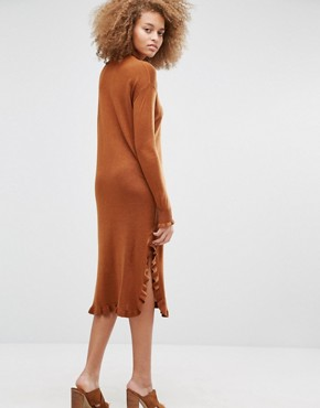 photo Ruffle Hem Jumper Dress by Warehouse, color Spice - Image 2