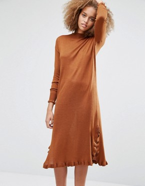 photo Ruffle Hem Jumper Dress by Warehouse, color Spice - Image 1