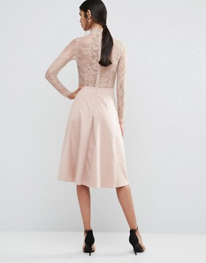 photo Pretty Skater Dress With Lace Yoke And Sleeves by Y.A.S Tall, color Rose - Image 2