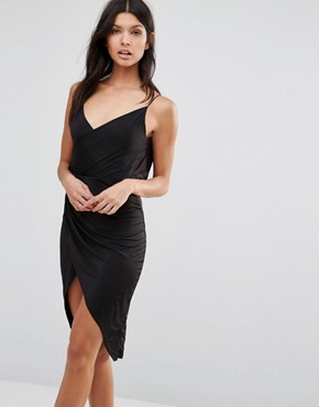 photo Slinky Wrap Front Dress With Cowl Back by Club L, color Black - Image 2