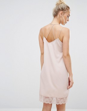 photo Lace Trim Cami Dress by Vero Moda Petite, color Pink - Image 2