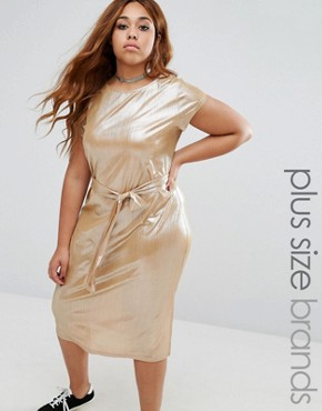 photo Plisse Cap Sleeve Dress with Tie Waist by Alice & You, color Gold - Image 1