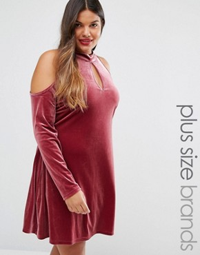 photo Cold Shoulder Velvet Swing Dress by Alice & You, color Raspberry - Image 1