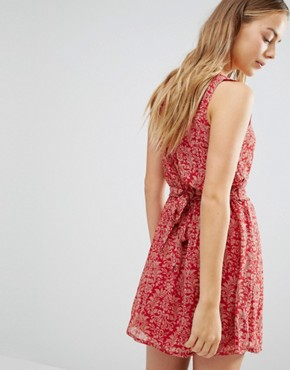 photo Printed Skater Dress by Jasmine, color Red - Image 2
