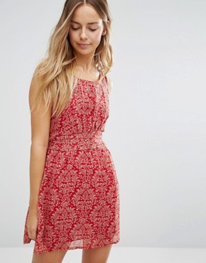 photo Printed Skater Dress by Jasmine, color Red - Image 1