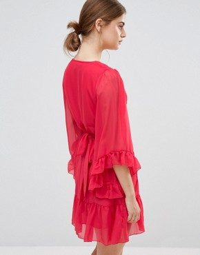 photo Skater Dress with Ruffled Hem and Sleeves by Jasmine, color Red - Image 2