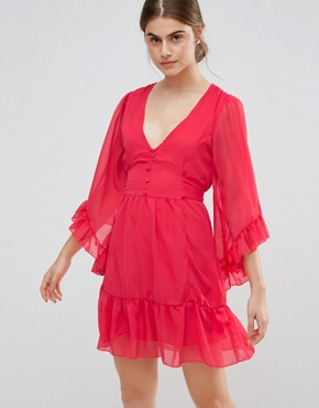 photo Skater Dress with Ruffled Hem and Sleeves by Jasmine, color Red - Image 1