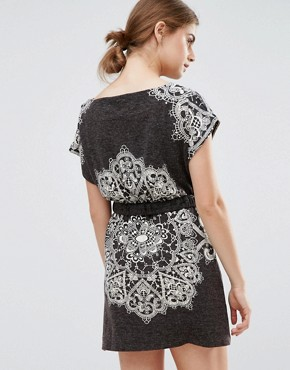 photo Paisley Print Dress with Belted Waist by Jasmine, color Dark Grey - Image 2