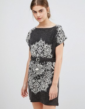 photo Paisley Print Dress with Belted Waist by Jasmine, color Dark Grey - Image 1