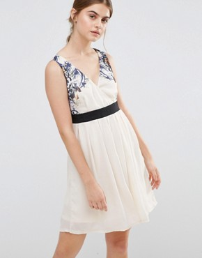 photo Skater Dress with Floral Top by Jasmine, color Cream - Image 1