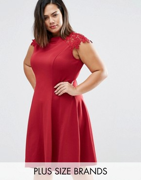 photo Skater Dress with Lace Sleeves by Praslin Plus, color Oxblood - Image 1